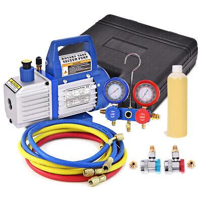 4cfm 13hp Air Vacuum Pump Hvac Refrigeration Kit Ac Manifold Gauge Set R134 New
