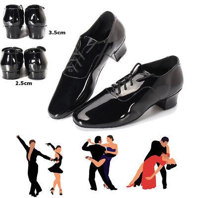 Herren Latein Tanzschuhe Salsa Tango Tanz Schuhe Ankle Schnürschuhe Schwarz