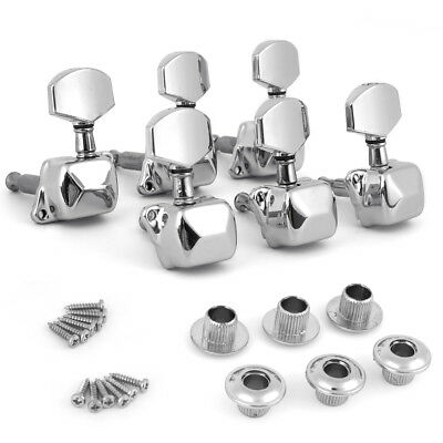 Chrome Acoustic Guitar String Semiclosed Tuning Pegs Machine Heads Tuners 3x3