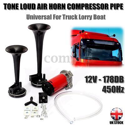 12V 178dB TWIN DUAL TONE LOUD AIR HORN COMPRESSOR PIPE RELAY CAR LORRY BOAT -UK