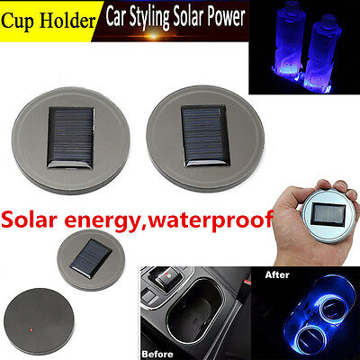2pc Solar Cup Holder Bottom Pad LED Light Cover Interior Trim Decor For All Cars