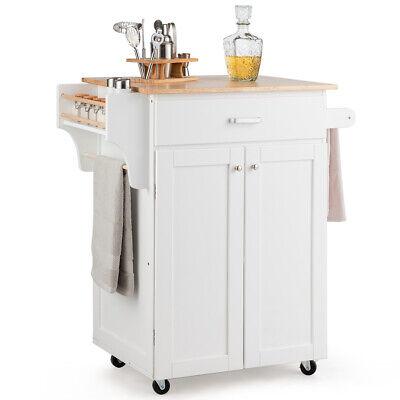 Rolling Kitchen Island Utility Kitchen Cart Storage Cabinet w/ Spice Rack White