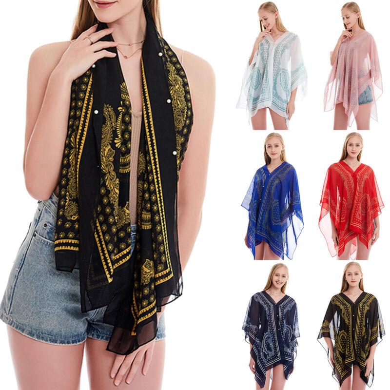 Women Long Sleeve Chiffon Bolero Scarf Shawl Wrap Beach Summer Shrug Cropped Top Clothing, Shoes & Accessories