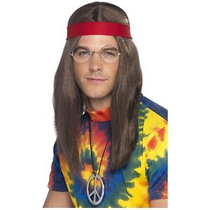 about Mens Hippie Costume Accessory Kit 60s Halloween Fancy Dress