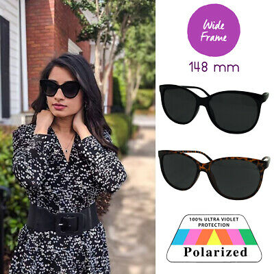 XL Women's Polarized Wide Frame Sunglasses for Big Face Large Cat Eye (Sunglasses For Large Faces)