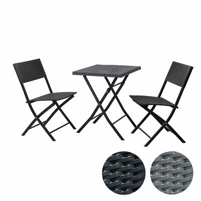 SVITA Polyrattan Bistro-Set 3er Set Balkonset Klappmöbel Stuhl Tisch Gartenmöbel