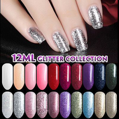 Lavender Violets 12ml Diamond Glitter Platinum Soak Off UV LED Gel Nail Polish](Glitter Gel)