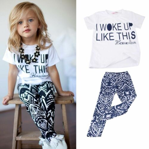 2PCS Toddler Kids Baby Girls Outfits T-shirt Top + Geo-Triba