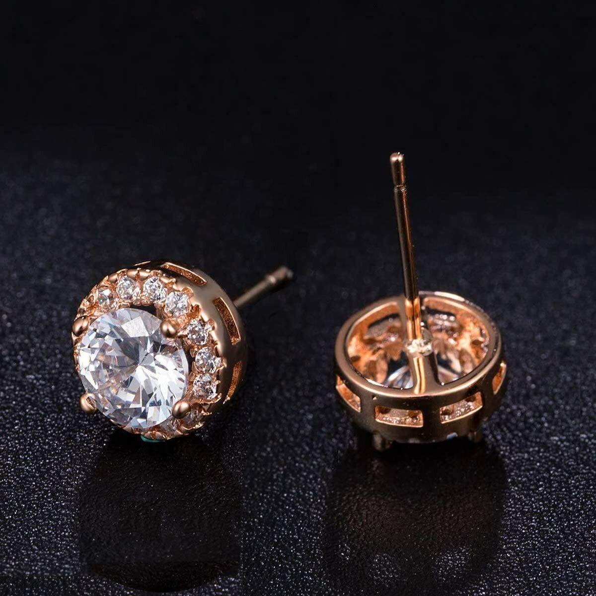 ELEGANT Earrings for Women 18k Rose Gold Plated Beautiful CZ Stud Earrings 4