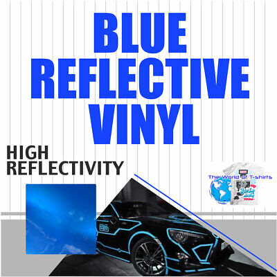 Reflective Blue Sign Vinyl Adhesive Safety Plotter Cutter 12x10ft