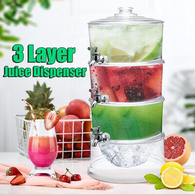 3-layer Juice Cold Drink Dispenser Lemonade Beverage Cooler Holder With