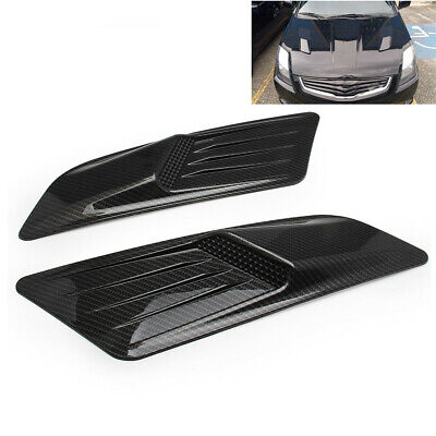 1 Pair Car Front Hood Accessories Air Flow Intake Vent Cover Carbon Fiber Style