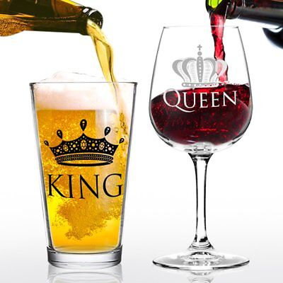 King Beer Queen Wine Glass Gift Set- Cool Present Idea for Bridal - Bridal Shower Decoration Ideas