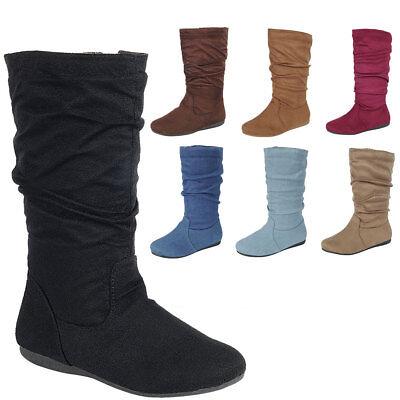 New Women Slouch Vegan Suede Round Toe Comfy Flat Mid Calf Tall Boot Shoe Zipper