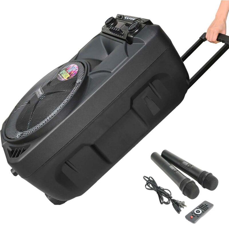 "Portable PA Karaoke Bluetooth Speaker w 15"" Subwoofer Sound Mic DJ Lights FM"