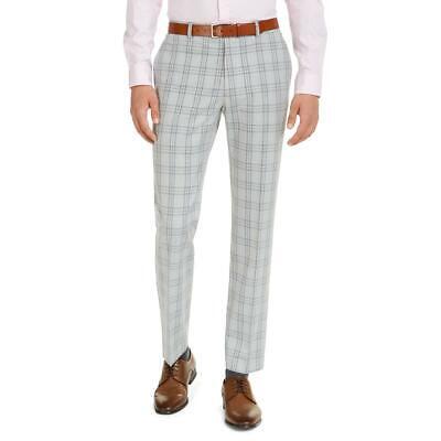 Tommy Hilfiger Mens Plaid Straight Leg Office Dress Pants BHFO 4680