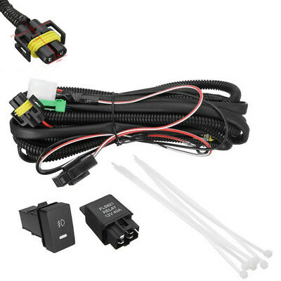 H11 Fog Light Wire Harness+LED Indicators Switch+Car Relay For Ford/Honda/Nissan ()