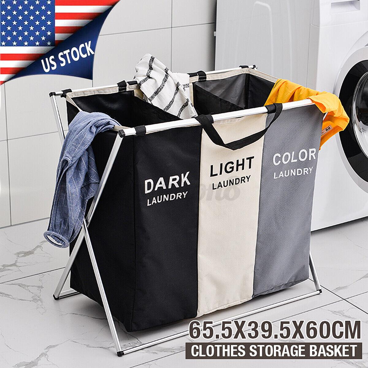US Handy Foldable Clothes Basket Storage Hamper Laundry Toys