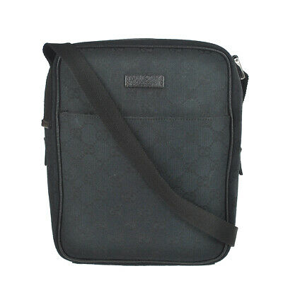 M89 GUCCI Authentic Shoulder Bag Messenger Cross body Vintage Black Leather