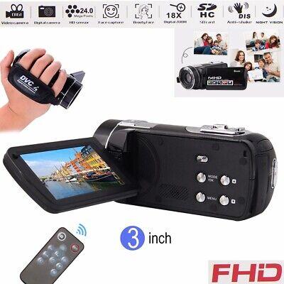 HD1080P Digital Video Camcorder 24MP Night Vision Remote Control Recorder Camera
