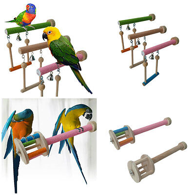 Pet Bird Chew Bites Toy Cage Wood Stand Perch Swing Toy For Pet Parrot Parakeet