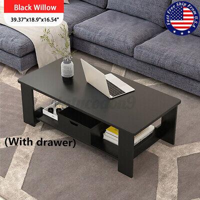 US 2 Tier Wood Coffee Tea Table Sofa Side Drawer Shelf Living Room Home