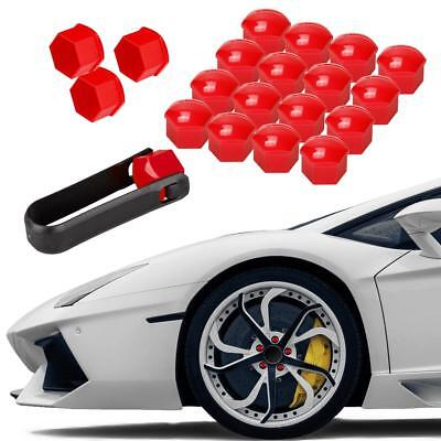 20pcs Red Wheel Lug Nut Center Cover Cap + Removal Tool for Audi for Skoda