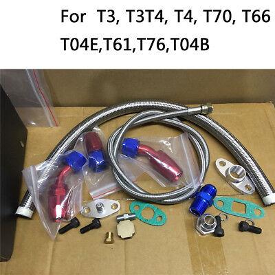 Turbo Oil Feed Line + Return Line + AN10 Fitting + Flange Kit T3 T4 GT35 T70 T66