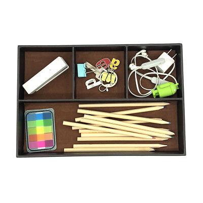 Coffee 4-slot Drawer Tray Desk Stationery Sundries Gadget Organizer Storage Box