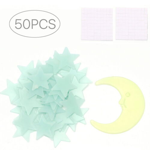 SG - 50 Glow In The Dark Star and Moon Set Plastic Shape for