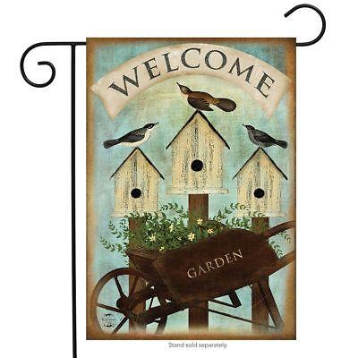 """Wheelbarrow Welcome Spring Garden Flag Birdhouses 12.5"""" x 18"""