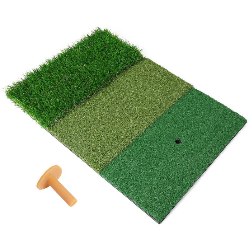 23.6x15.7in Tri-Turf Golf Mat Portable Hitting Practice Pad Turf  w/ Tees Indoor