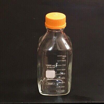 2 Genuine Pyrex Glass 1000ml Square Media Storage Bottle Gl-45 Lld 1396-1l Mint