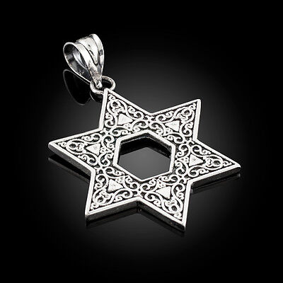 Vintage-Style Oxidized Sterling Silver Reversible Jewish Star of David Pendant