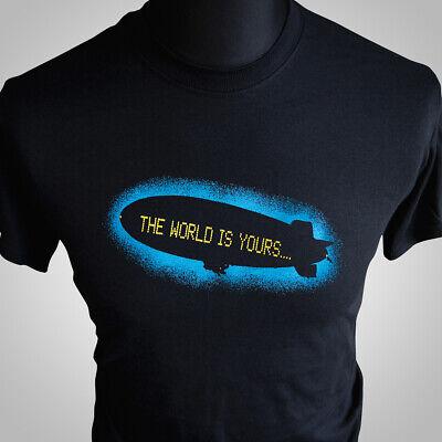 Scarface Movie Themed Retro T Shirt The World is Yours Al Pacino Tony Montana