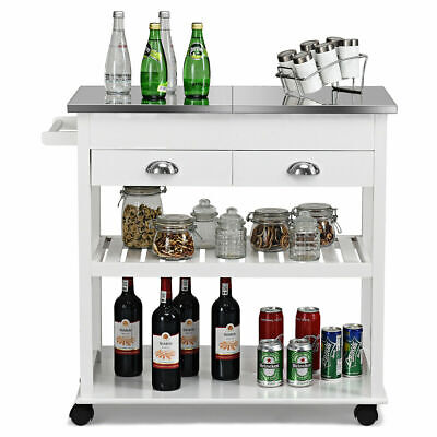 Rolling Kitchen Island W/ Stainless Steel Flip Tabletop Drawers Towel Rack White