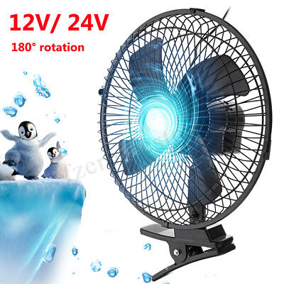 10'' 12V Car Clip On Cooling Fan 2 Speed Airflow For Home Bo