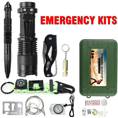 Outdoor Emergency Survival Kit Camping Hiking Gear SOS First Aid Set Torch