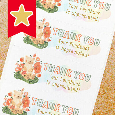 Thank You Labels Stickers For Online Shop Sellers 100ct - Teddy Bear