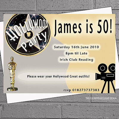 Hollywood Themed Birthday Invitations (Hollywood Oscars Themed Birthday Personalised Party Invitations x 12 +envs)