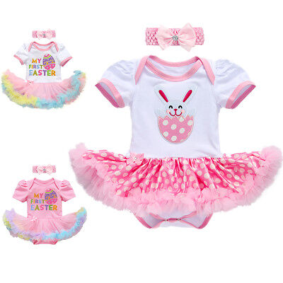 Newborn Baby Girl Easter Egg Bunny Romper Dress Jumpsuit Headband Outfit Clothes - Easter Bunny Baby Outfit