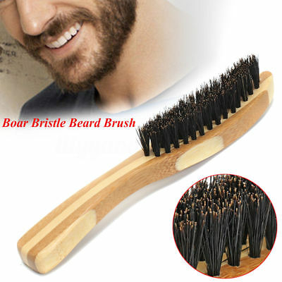 Men Boar Bristle Beard Mustache Styling Brush Facial Hair Shaving Bamboo Handle