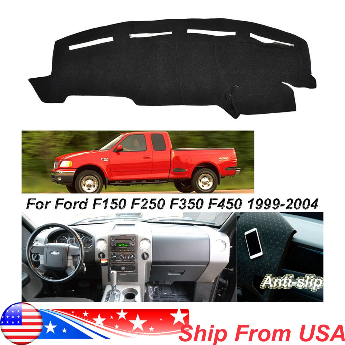 Dash Cover Mat Dashboard Cover Dashmat for Ford F250 F350 F450 1999-2004 Truck