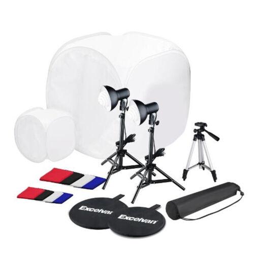 Ministudio Fotobox Softbox Lichtzelt Fotozelt Stativ Lampe 78CM + 4 Hintergrund
