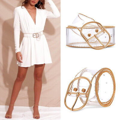 Women Ladies Transparent Gold Outline Wide Cinch Waistband High Waist Dress Belt