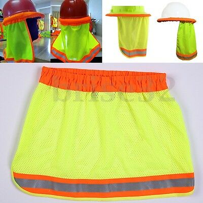 Safety Hard Hat Neck Shield Helmets Sun Shade Hi Vis Reflective Stripe Yellow