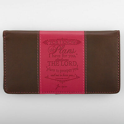 CHECKBOOK COVER For I Know the Plans I Have For you Pink & Brown Faux-Leather