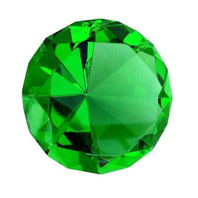 Big 60mm Emerald Green 60 mm Cut Glass Crystal Giant Diamond Jewel Paperweight