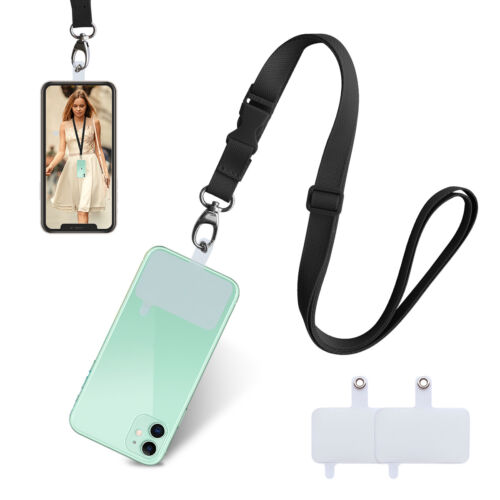 Cell Phone Lanyard Adjustable Crossbody Strap with Most Smartphone (2 patches)