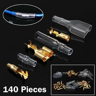 140 Coches Auto Macho Hembra Conectores Crimps Terminales 3.9mm Eléctrico Cables